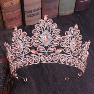 Image 1 - KMVEXO 2019 New Vintage Baroque Tiara Crowns Queen King Bride Pink Crystal Crown Pageant Bridal Wedding Hair Jewelry Accessories