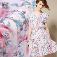 135cm Width 8momme Blue Leaves And Light Pink Peach Blossom Printing 100 Silk Georgette Fabric Free