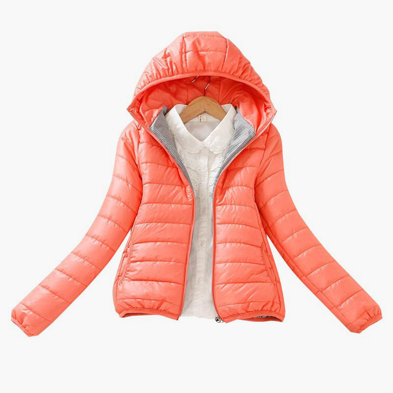 Solid Color Zipper Hooded Women Spring Jacket 2018 New Fashion Autumn Winter Slim Warm Ladies Coats Plus Size Outerwear 2