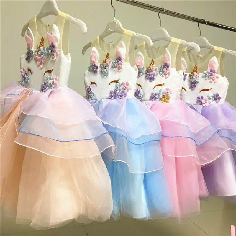 Beautiful Unicorn Embroidery Beading   Flower     Girl     Dresses   2019 Gauze Tulle Knee Length Kids Prom   Dresses   Pageant   Dresses