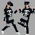 Детская одежда набор Костюмы черный белый Звезда джаз Хип-Хоп танцевальная одежда дети костюмы Мальчики и девочки хип-хоп группа