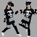 children's clothing set Costumes black white Star jazz Hip Hop dance garment kids suits Boys and girls hip hop group