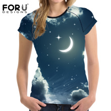 FORUDESIGNS 3D Galaxy t-shirt Women Summer T shirt Casual Ladies Girls Moon Bright t Slim-fit Fitness Clothing Vogue