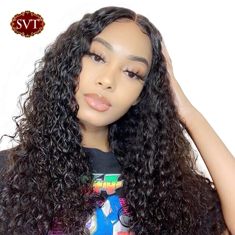 SVT Deep Wave Wig Lace Front Human Hair Wigs For Women Peruvian Remy Hair Lace Closure