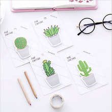 2X kawaii Creative Green cactus Sticky  Memo Pad lovely School office stationery Supplies Planner Stickers Paper Bookmarks