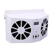 Solar Powered Car Interior Ventilador De Refrigeración Del Automóvil Sistema de Ventilación de Doble Salida de Aire LCD Termómetro de Formaldehído de Aire Limpio