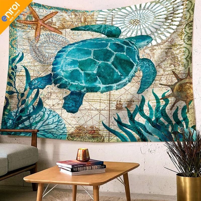 Marine Style Sea Turtle Sea Horse Shark Pattern Home Decorative - Sea turtle coffee table