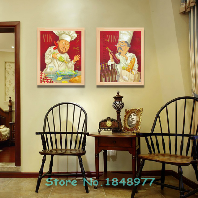 2 Panels Mondern Cuadros deocracion Cartoon Chef Canvas Painting ...