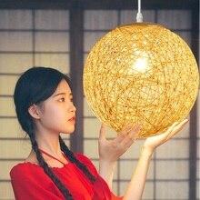 מודרני עבודת קש נצרים מודרני נצרים Takraw נפרד קיין אהיל תליון מנורת להשתמש אוכל חדר