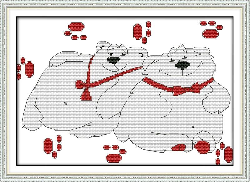 Felicidad oso polar de punto de cruz kit de dibujos animados ...