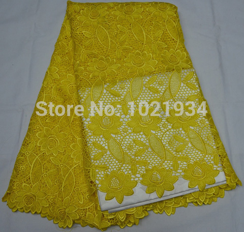 Free Shipping High quality African guipure lace fabric for sewing african cord lace fabric for woman wedding dress yellow