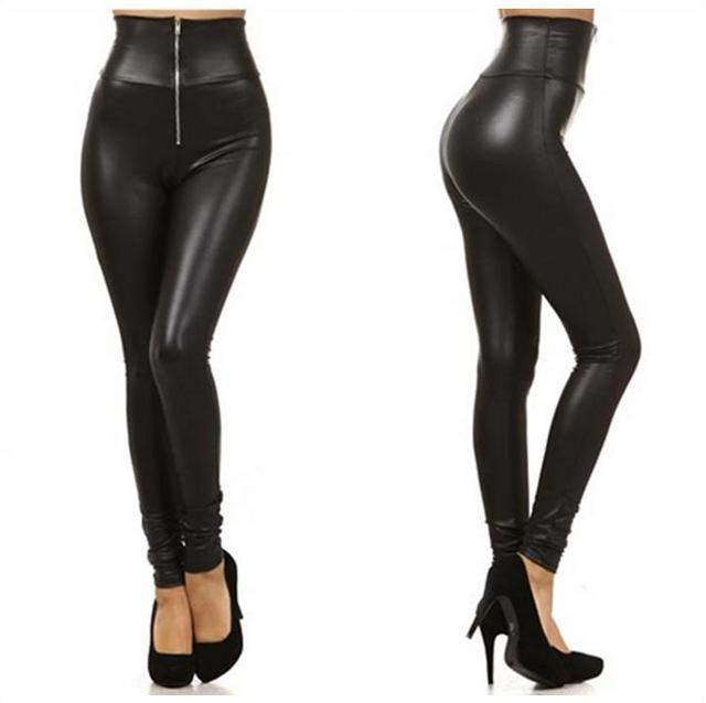 2c58885e2550c 2016 Sexy Women's Leggings Punk High Waist Faux Leather Leggings Zipper  Leggins Autumn Spring Black Fitness Women Pants S-XXL