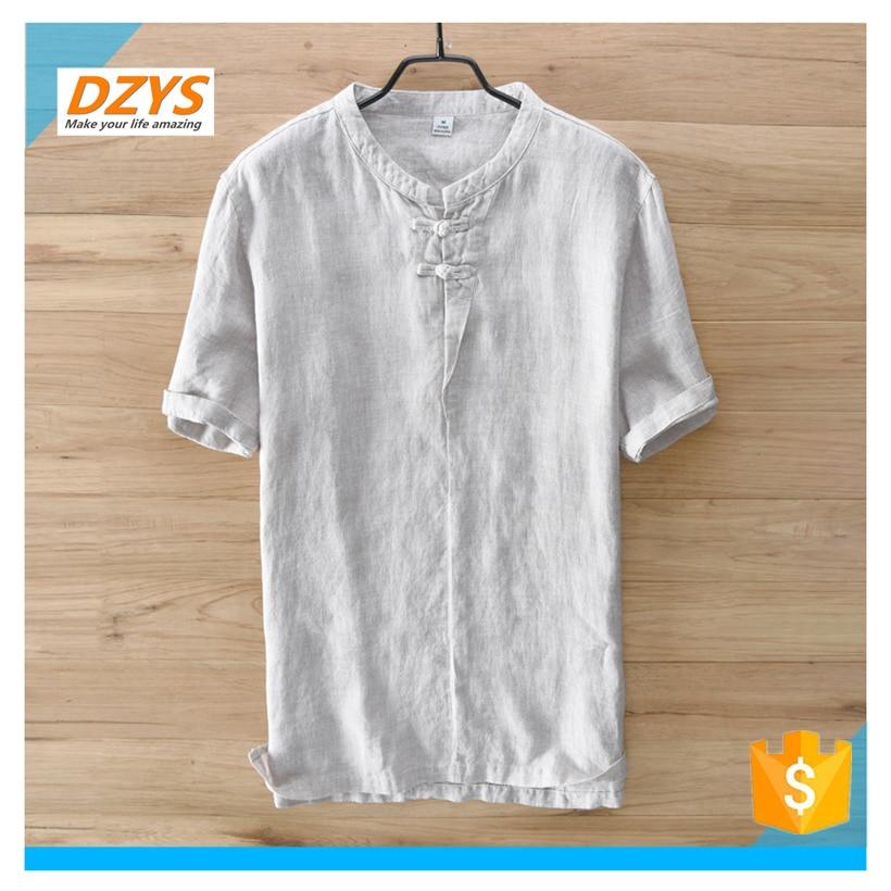 DZYS JF estilo chino de algodón y lino de los hombres de manga corta de lino de manga corta Camisa de gran tamaño Lino verano Suelto camiseta