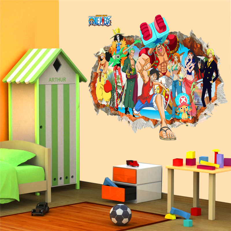 3d one piece Luffy through wall decals for kids rooms bedroom home decor art cartoon bro ...