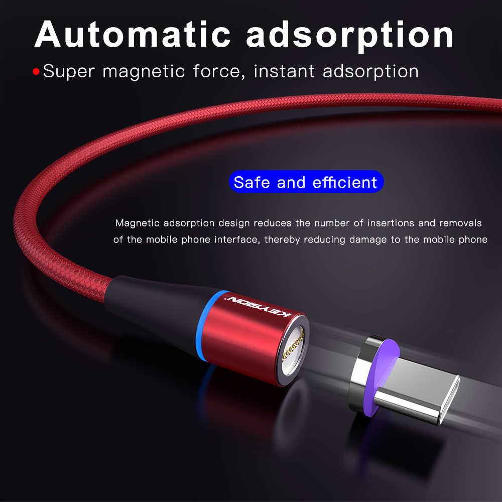 KEYSION USB-C كابل مغناطيسي لسامسونج A70 A50 A30 A20 شياو mi mi 9T K20 شحن سريع سلك نوع-C المغناطيس شاحن كابل الهاتف