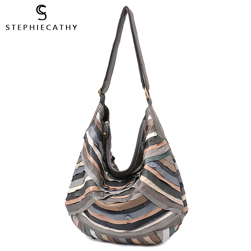 SC Large Brand Vintage Women Shoulder Bags Genuine Sheep Leather Patchwork Hobos for Girls Soft Colorful