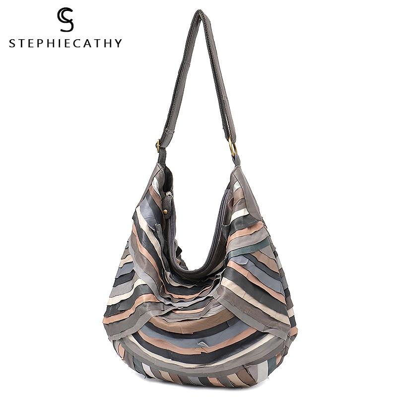 SC Large Brand Vintage Women Shoulder Bags Genuine Sheep Leather Patchwork Hobos For Girls Soft Colorful Joint Messenger Bags