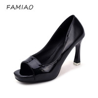 FAMIAO 2018 Women Pumps Wedding Party Super High Shoes Heel Concise Shallow Mouth Shoes Peep Toe