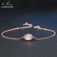 LAMOON Proste 8x6mm 100% Natural Owalne Różowy Rose Quartz 925 Sterling Silver Biżuteria Rose Pozłacane S925 Charm Bransoletka LMHI023