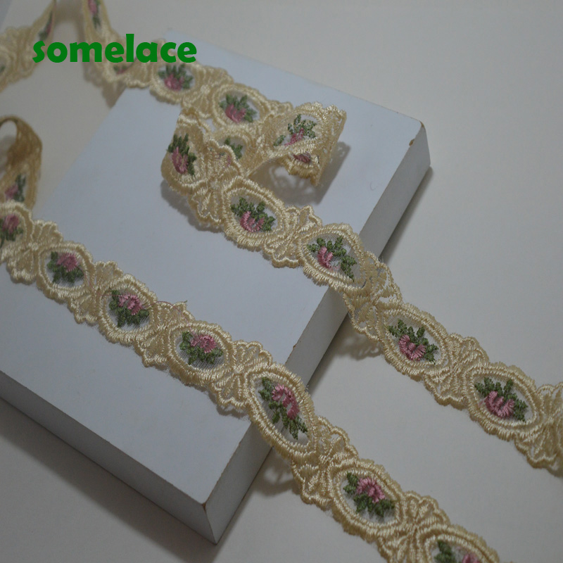 5yds  3.5cm Wide  Light Gold Ribbon Pink Mixed Floral Venice Lace Trim For Garments And Wedding Decoration