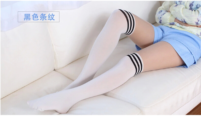 10pcs/lot free shipping Japanese style woman casual patchwork tights white stripe pantyhose swan velet