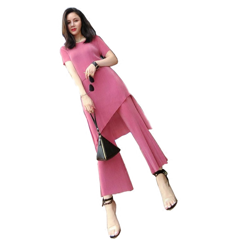 New broad-legged trousers suit  summer Two-piece pleated short-sleeved  Chiffon pure-color elastic fashion set free ship