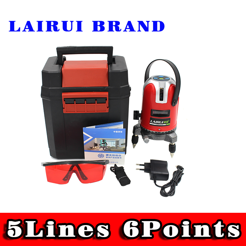 Lairui 5 lines 6 points laser level, 360 degree rotary cross laser line level,with outdoor mode and tilt mode free ship quality mtian level laser 5 lines 6 points instrument levels 360 self rotary 635nm corss line lazer level tools fast delivery