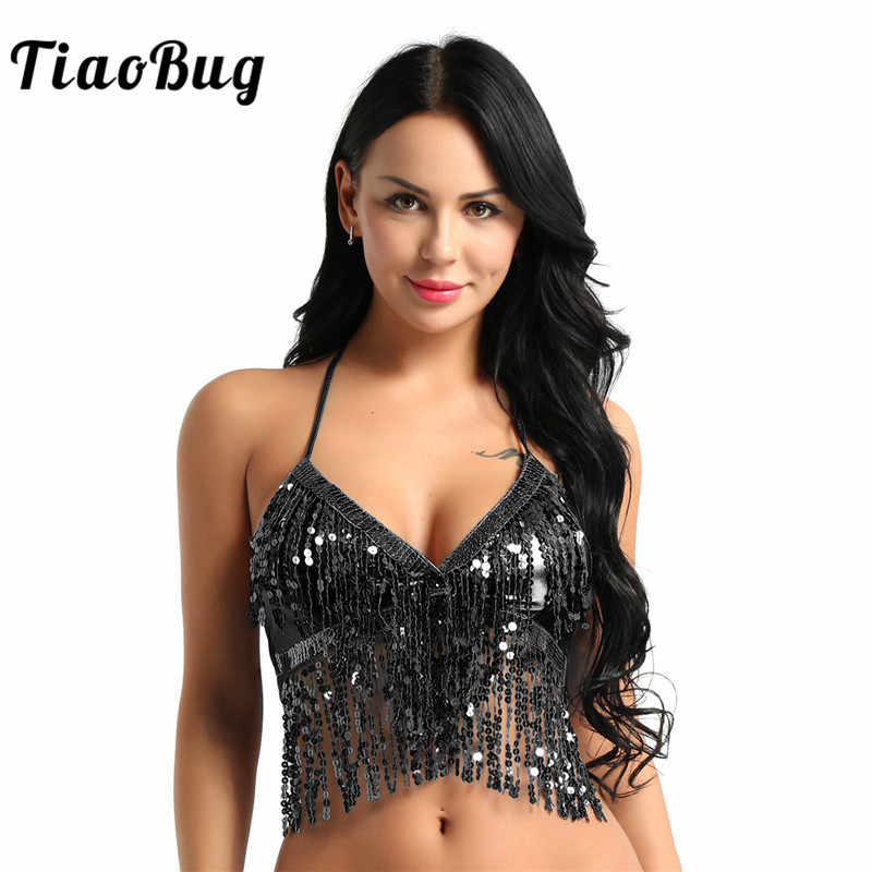 1da9e856e72815 TiaoBug Women Fashion Halter Shiny Bra Top with Sequins Tassel Club Party  Festival Rave Sexy Crop
