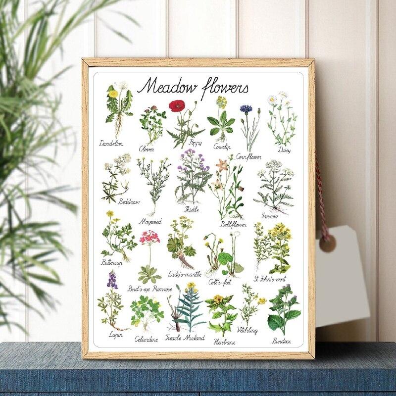 Montessori Flowers Canvas Print Kids Room Decor