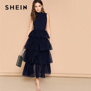 Image 1 - Shein 프릴 넥 라인 계층화 된 메쉬 프릴 밑단 맥시 드레스 민소매 스탠드 칼라 매력적인 파티 드레스 하이 웨스트 여름 드레스