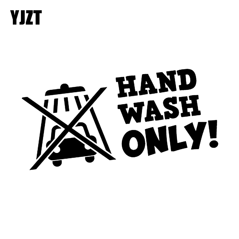 YJZT 15.7CM*6.8CM Personality HAND WASH ONLY Vinyl Car-styling Car Sticker Decal Black Silver C11-1441