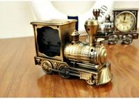 2pcs New Arrival Luxury Fashion Retro Train Style Decoration Home Room Quartz Alarm Clock Gift Free