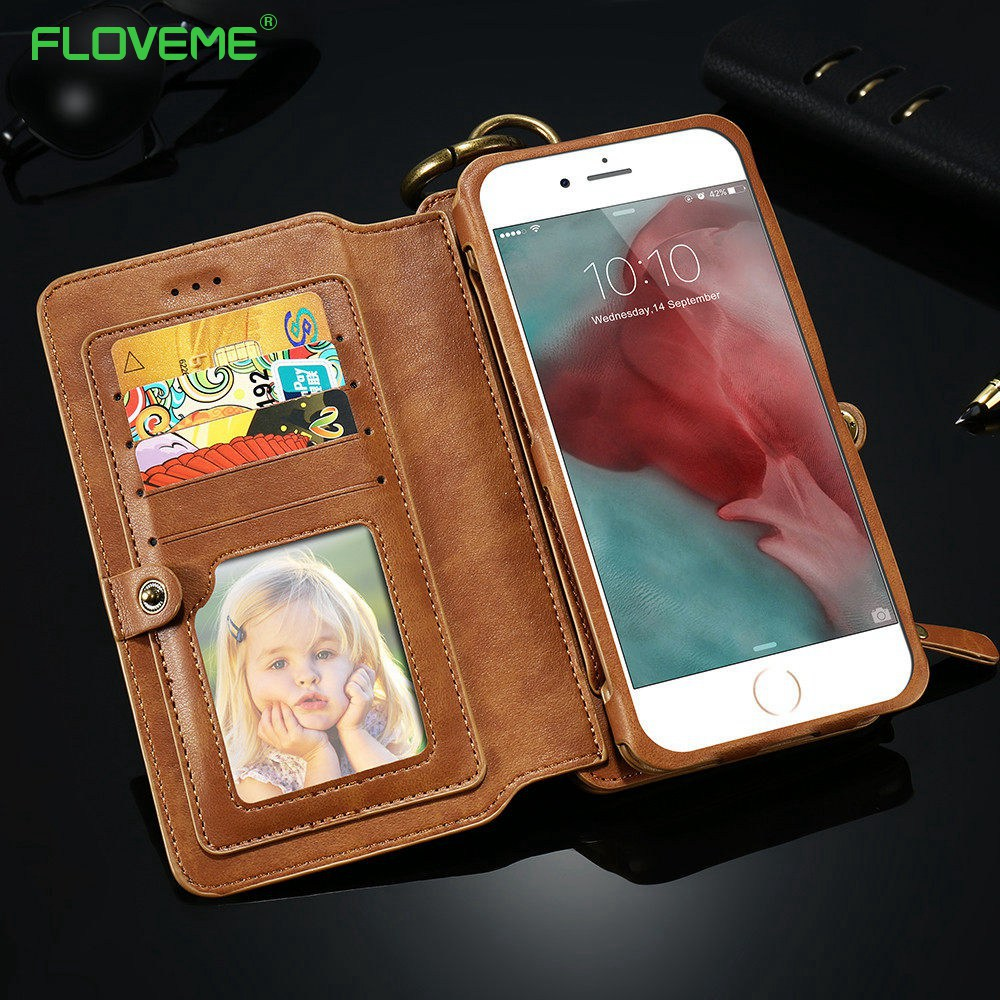 Цена за Floveme бумажник телефон чехол для iPhone 6 S 7 Plus старинные классические бизнес-Флип Бумажник кожаный чехол для Iphone 5 5S 6 6 S 7 Plus