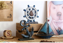 Mediterranean style originality ocean sitting room adornment is placed. Home bookcase desk small ornament gift for the boys