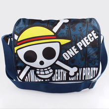 1Pcs Anime One Piece SKULL Head Pirates of Hearts colorful Pattern school Bag Shoulder Bag Backpack