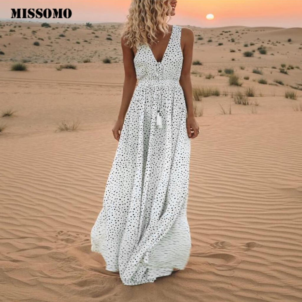 MISSOMO Women Dresses Summer 2019 Sleeveless Dot Print Tassels Deep V Neck Long Dress Beach Maxi Dress Vestidos