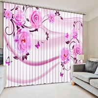 Custom any size butterfly curtain Luxury European Modern purple flower curtains home bedroom decoration
