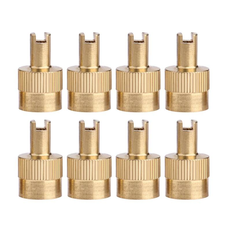 VODOOL 8pcs Copper Metal Car Slotted Head Valve Stem Caps With Core Remover Tool For Car Motorcycle Vehicle Wheels Tires Parts