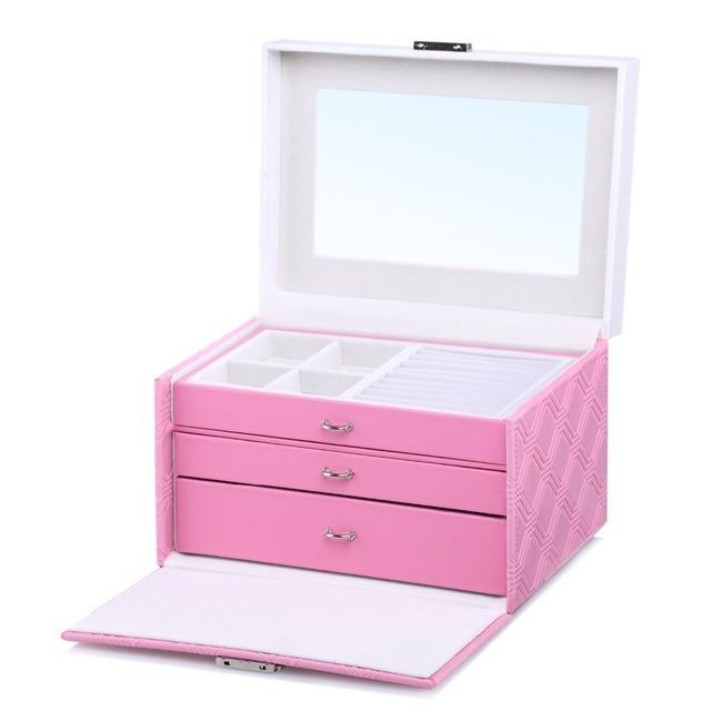 Large Pink PU Jewelry Boxes Princess Cute Jewellery Storage Case