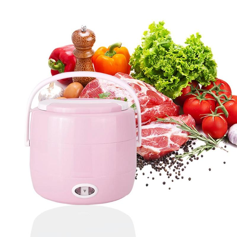 Alloet 2L Electric Lunch Box Heating Lunch Box Thermal Rice Cooker Steamer Japanese Thermal Lunch Box for Kids 230V 200W PTC multi function electric lunch box stainless steel tank household pluggable electric heating insulation lunch box