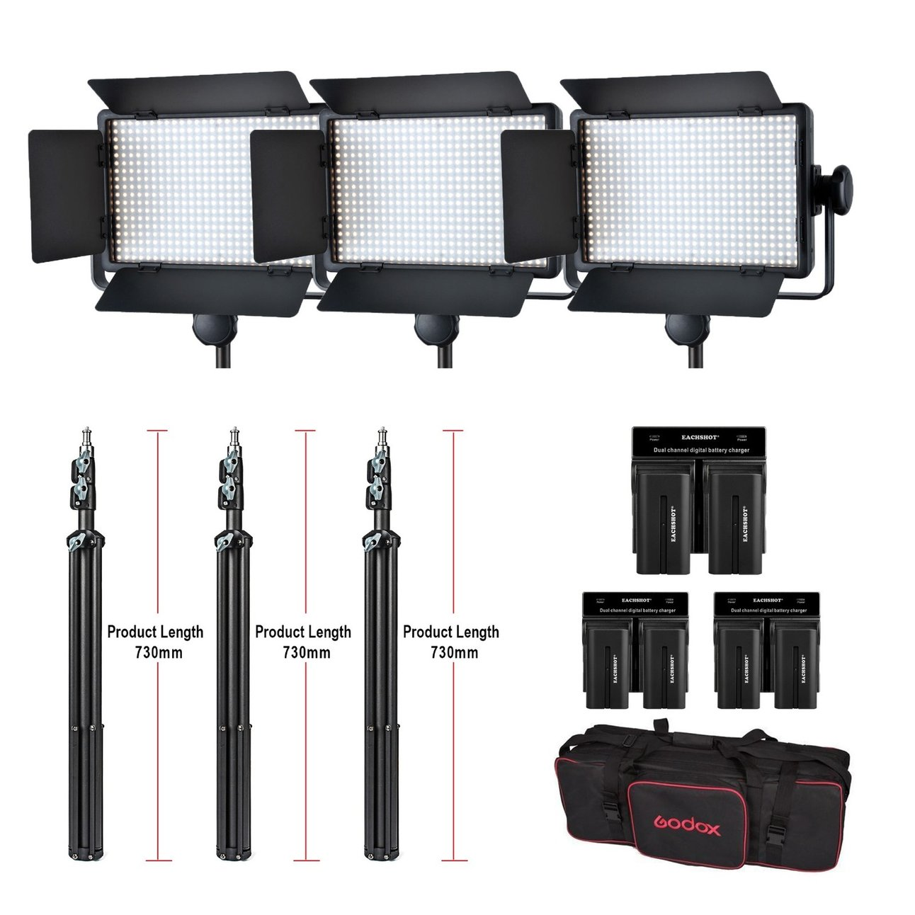 Godox 3x LED500W Kit 5600K 8700LUX LED Video Continuous Light Lamp Panel + stand + battery + battery charger W/ carrying Bag godox professional led video light