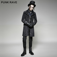 Панк рейв Готический стиль ретро Длинные Мужчины куртка черная зимняя куртка мужская Y 705