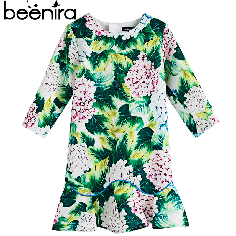 Beenira Girls Autumn Dress 2017 European And American Style Children Pattern Printed long-Sleeve Green Dress 4-14y Spring Dress high collar long sleeve printed dress