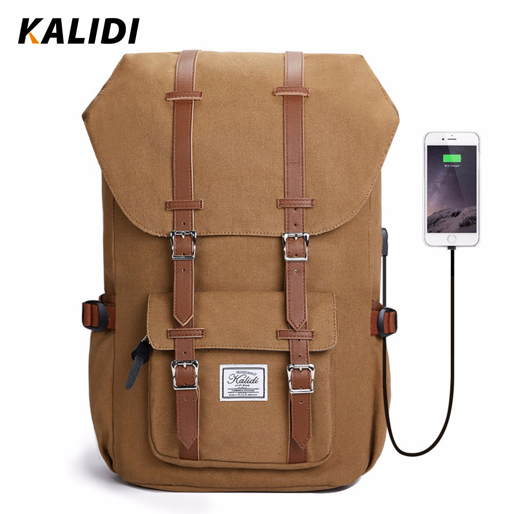 Kalidi Brand Men Backpack Women Canvas Laptop Backpack USB Charging Headphone Fashion Travel Bag 15-17 inch Rucksack School Bag