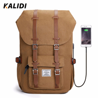 Kalidi Brand Men Backpack Women Canvas Laptop Backpack USB Charging Headphone Fashion Travel Bag 15 17