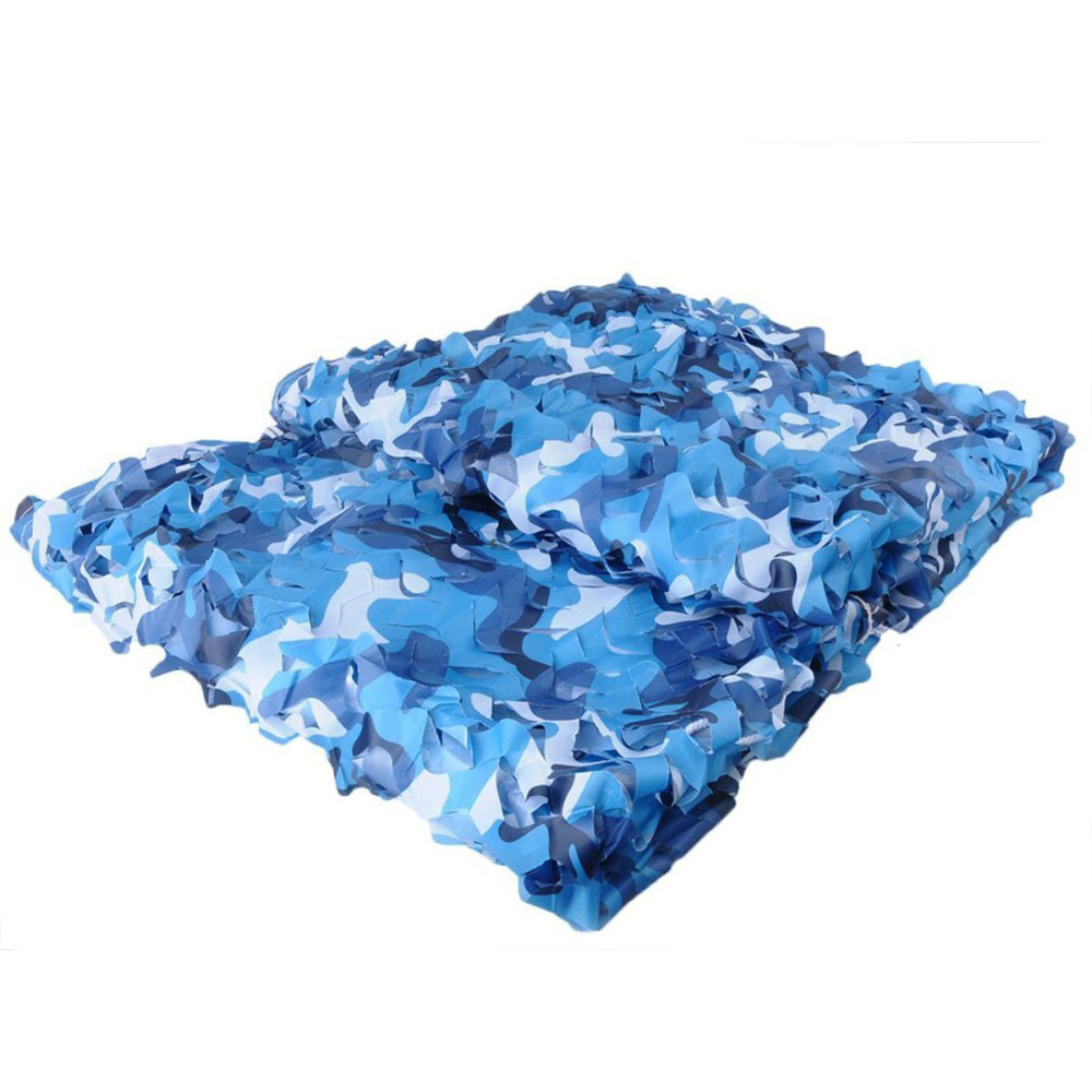 3.5M*6M filet Camo Netting blue camouflage netting camo tarp for fishing tent beach tent silicone tarp camping shade canopy