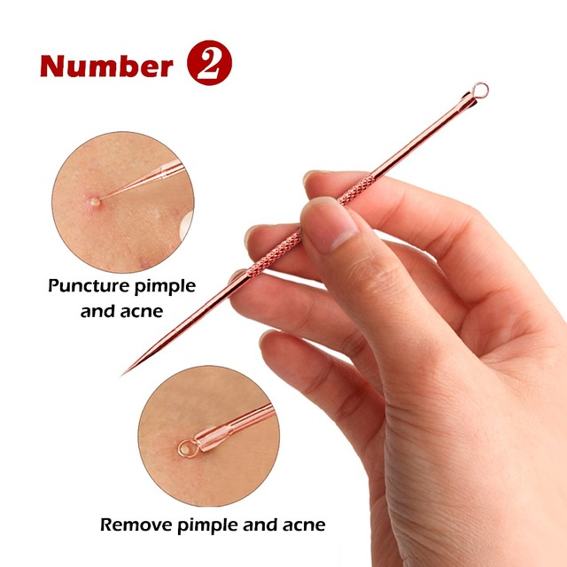 Rose Gold Acne Removal Needle Pimple Needle Blackhead Remover Acne Treatment Acne Needle Black Mask Acne Extractor Remover 4PCS