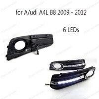 2009 2012 белый автомобиль авто день время Бег свет Chrome для/udi A4 B8 A4L DRL переход туман крышку лампы