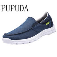 PUPUDA Fashion Mens Shoes Casual Breathable Slip On Loafers New Canvas Shoes Men Comfy Vulcanize Shoes Male Walking Sneakers