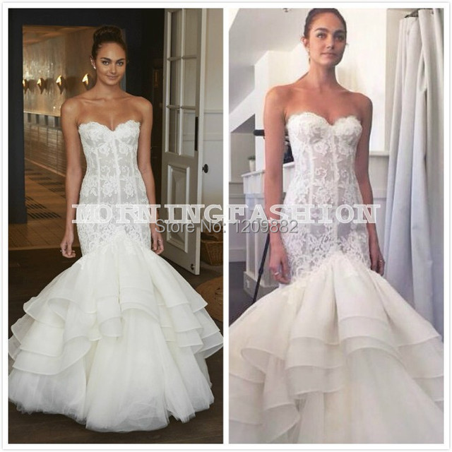 0aede25f6f78 Lace Mermaid Wedding Dress Sexy Off The Shoulder Sleeveless Trumpet Bridal  Gowns Tiered Ruffles Bottom High Quality Custom Copy